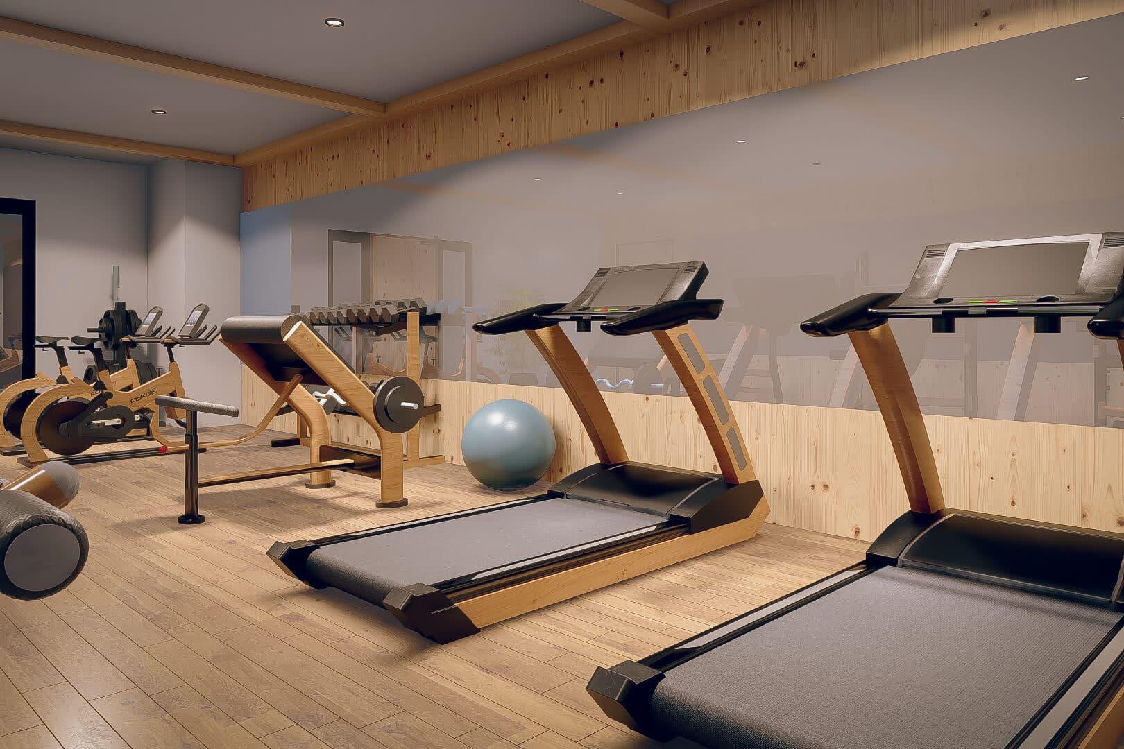 Einen Fitnessraum mit modernen Geräten finden Sie im Erdgeschoss