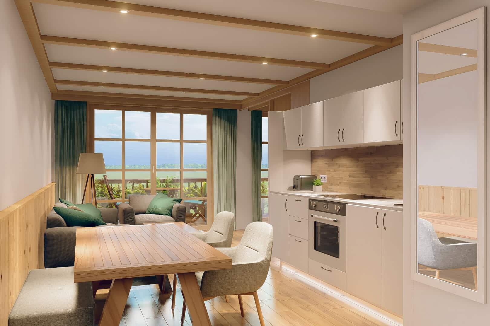 Der offene Lounge-bereich verbindet die vollausgestattete Küche mit dem Wohnzimmer