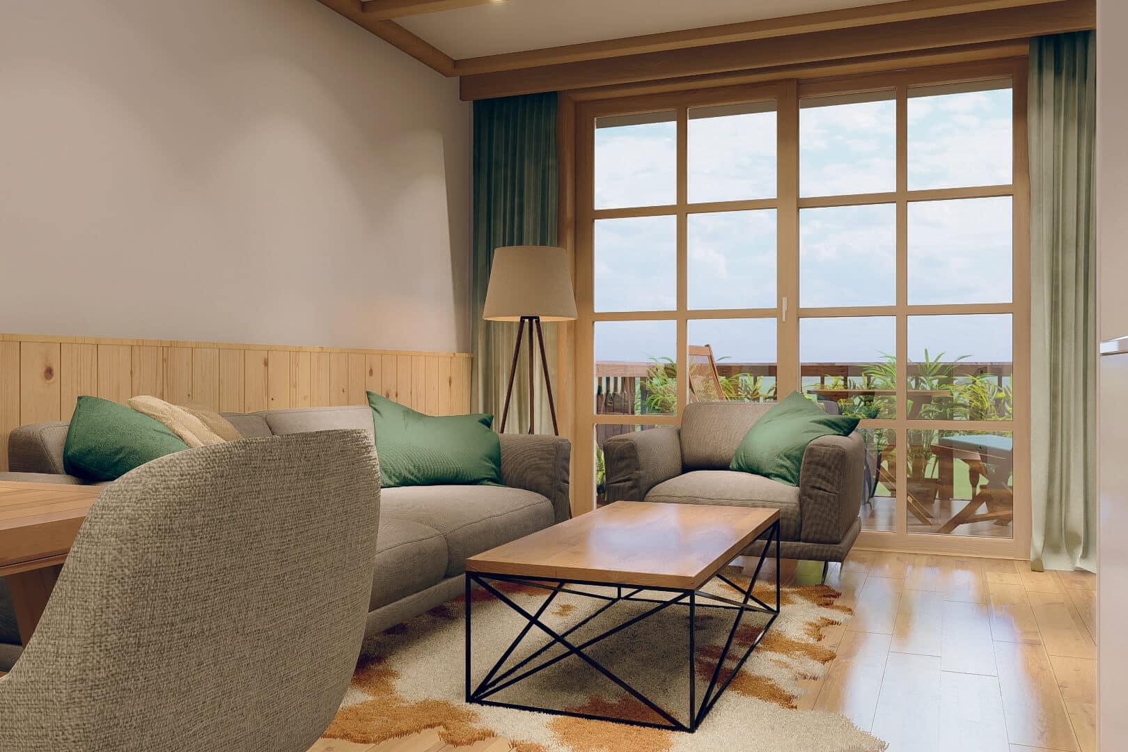Wohnbereich zum Wohlfühlen in den Schwarzenbach Ferienwohnungen mit Pool